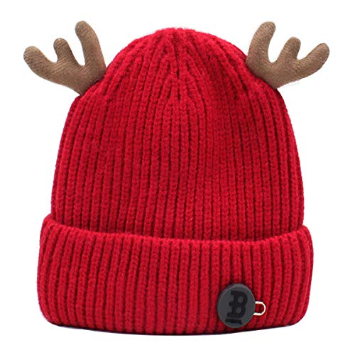 (Mily Baby Boys&Girls Cute Deer Antlers Knitted Cap Newborn Baby Cotton Crochet Winter Warm Hat Red)