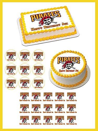 Pittsburgh Pirates 2 Edible Cake OR Cupcake Topper - 2' cupcake (12 peaces/sheet) inches (Pirates Pittsburgh Cup)