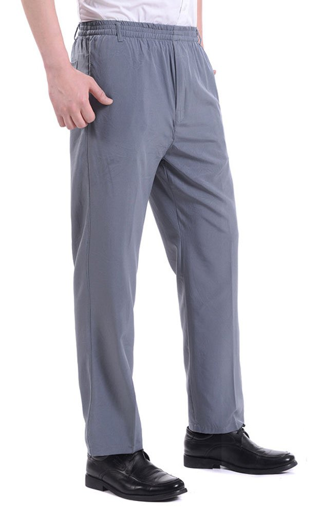 Soojun Men's Casual Straight Leg Full Elastic Waist Pull On Pants, Slate Gray, Small by Soojun (Image #4)