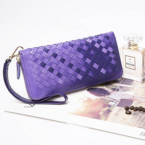 Men'S Ladies Thin Purse Weave purple Walletlong Clutch Purse GUNAINDMX Zipper Female wUf4qfT