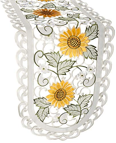"""Linens, Art and Things Embroidered Table Runner Dresser Scarf Coffee Table Scarf Open Weave Cut Work Sunflower and White Daisy on Ivory 16"""" x 36"""""""