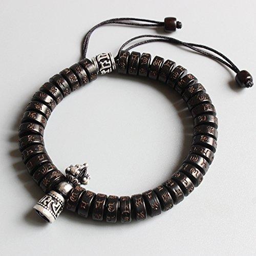 - TALE Tibetan Buddhist Carved Six True Words Coconut Shell Beads White Copper Vajra Charm Lucky Bracelet