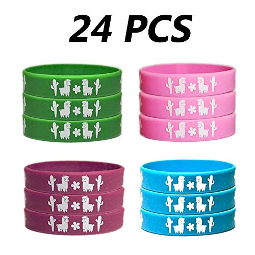 24 PCS Llama Cactus Party Gifts Supplies Rubber Bracelets for Kids - Cinco De Mayo/Mexican Fiesta Birthday Party Goodie Bag Stuffers Favors Silicone Wristbands