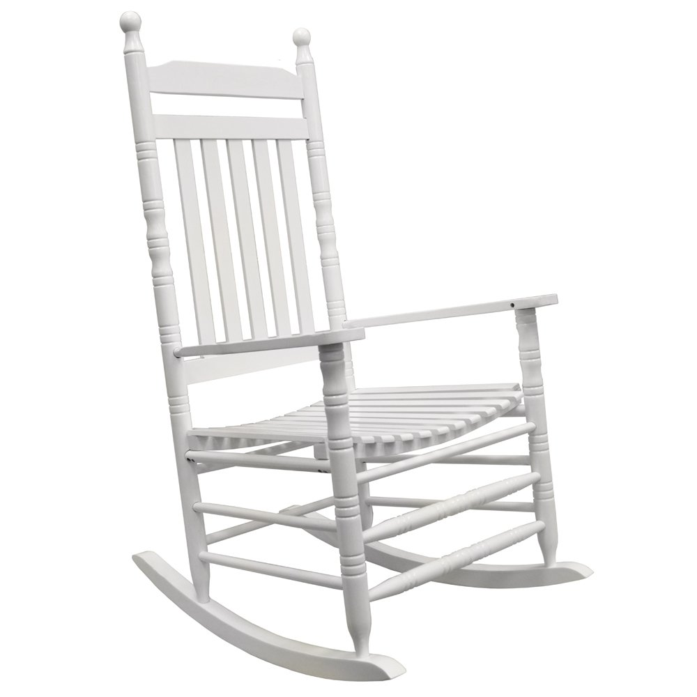 WATSONS RELAX - Solid Wood Traditional Shaker Single Adult Rocking Chair - White