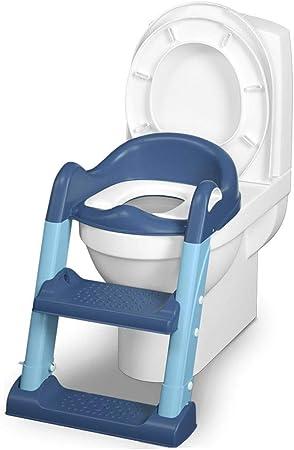Aseo Escalera Asiento WC WC niño del bebé del asiento de tocador del amortiguador Anillo WC cubierta Escalera cojín de la silla infantil entrenamiento insignificante del asiento de tocador con taburet: Amazon.es: