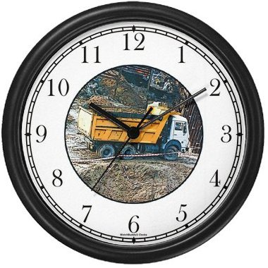 Dump Truck Wall Clock by WatchBuddy Timepieces (Black - Truck Dump Wall