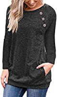 Ruiyige Women's Comfort Casual Loose Fit Tops Blouse T-Shirts with Buttons