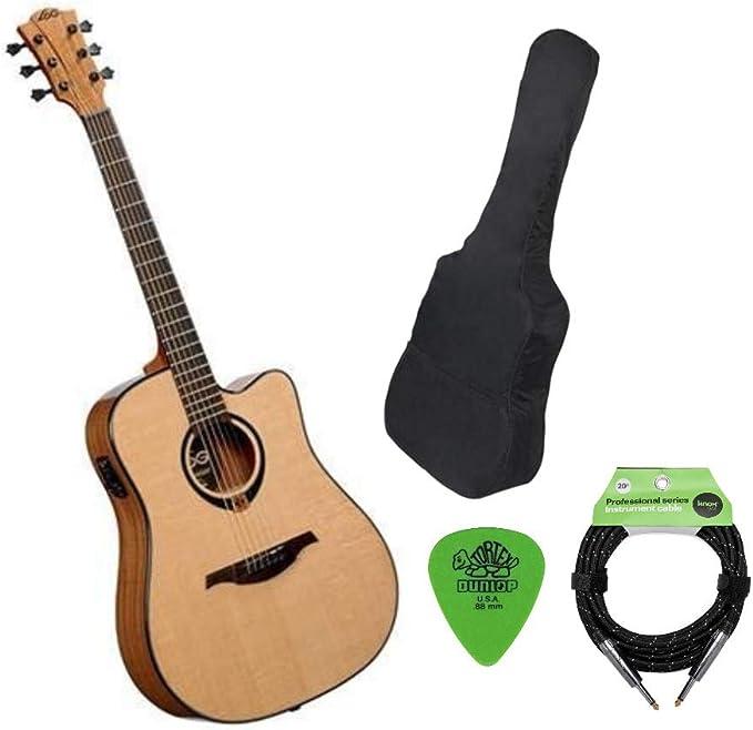 Lag Guitars Tramontane T80DCE Dreadnought Cutaway Guitarra acústica eléctrica con estuche Knox, cable de guitarra y fotos: Amazon.es: Instrumentos musicales