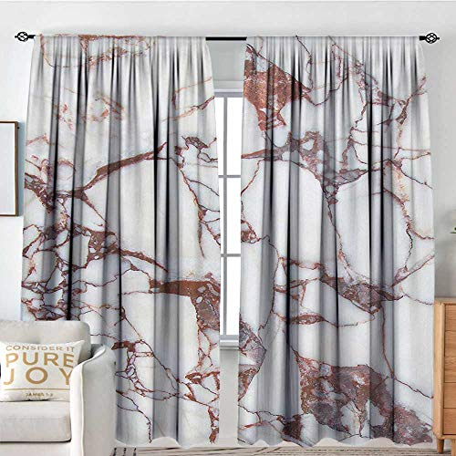 NUOMANAN White Curtains Marble,Dolomite Rocks Pattern with Characteristic Swirls and Cracked Lines Abstract Art,Beige Brown,Decorative Curtains for Living Room and Bedroom 54