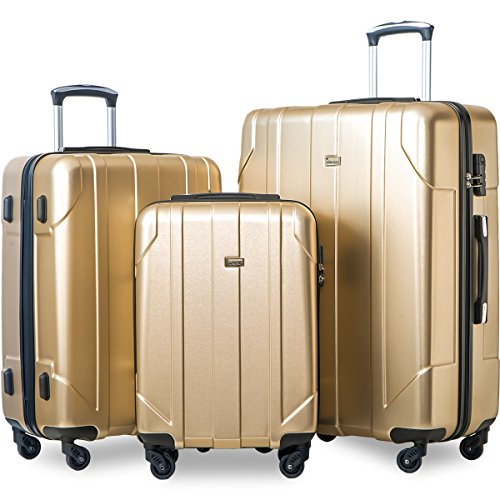 - Merax 3 Piece P.E.T Luggage Set Eco-friendly Light Weight Spinner Suitcase (Gold)