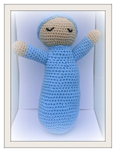 Amigurumi crochet stuffed Blue Sleeping Baby childrens toy animal plush child toy handmade collectable gift