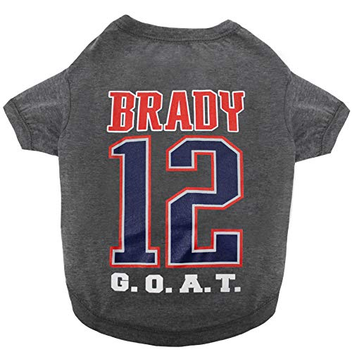 NFLPA Tom Brady G.O.A.T #12 Tee Shirt for Dogs & Cats, Size: Large. TB12 Pet Shirt Goat: Greatest of All Time NFL's Greatest Quarterback in The History of Football (Tom Brady Greatest Quarterback Of All Time)