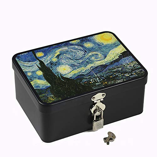 Leagway Retro Style Tinplate Storage Box with Padlock, Home Kitchen Desktop Organizer Container Decoration, Chocolate Candy Tea Coffee Cosmetics Jewelry Coin Photos Gift Case (Starry (Best The Starry Night Friend Jewelry Foods)