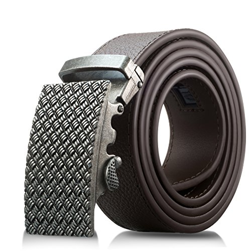 Men's Genuine Leather Belt- Ratchet Black Dress Belt for Men with Automatic Buckle. (Up to Size 46, Brown With Buckle #06)