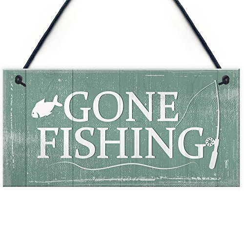 - DominicaVwesk Gone Fishing Hanging Plaque Nautical Decor Sign Dad Grandad Shabby Chic Birthday Gift Home Plaque