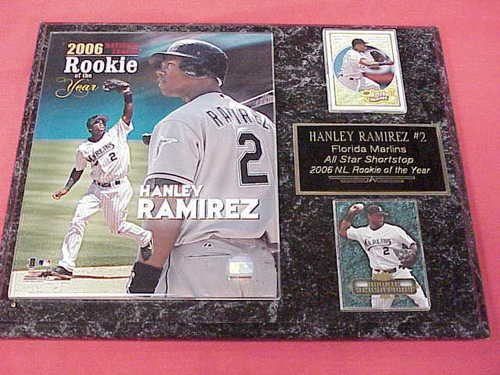 - Hanley Ramirez Florida Marlins 2 Card Collector Plaque w/Rookie of the Year Photo