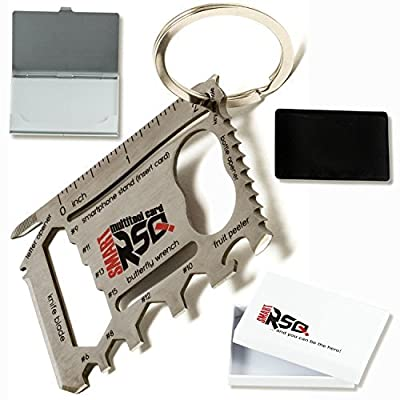 37 in 1 Wallet Multitool Card Gift Set v2.0 - Silver Edition | Multi-purpose EDC Survival Credit Card Pocket Tool + Other Gadgets for Men by smartRSQ Factory