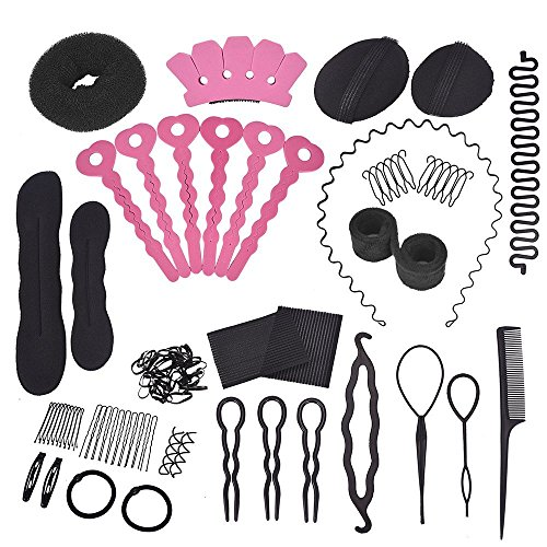 Hair Design Styling Accessory Hair Braider Hair Design Kit Maker Pads Hairpins Clip Donut Tool Kit 20 PCS Set Fashion Hair Design (Hair Design Kit)