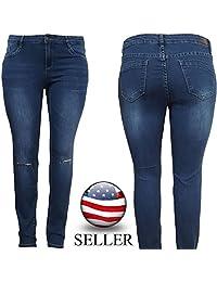 Womens Plus Size Butt Lifting Super Comfy Stretch Denim Casual Skinny Jeans