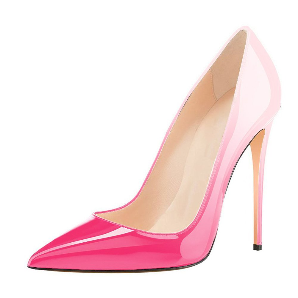 UMEXI Women Pointed Toe High Heels Slip Shoes on Stilettos Wedding Party Dress Shoes Slip Plus Size Pumps B0778MHXF8 7|Gradient Pink 16327c