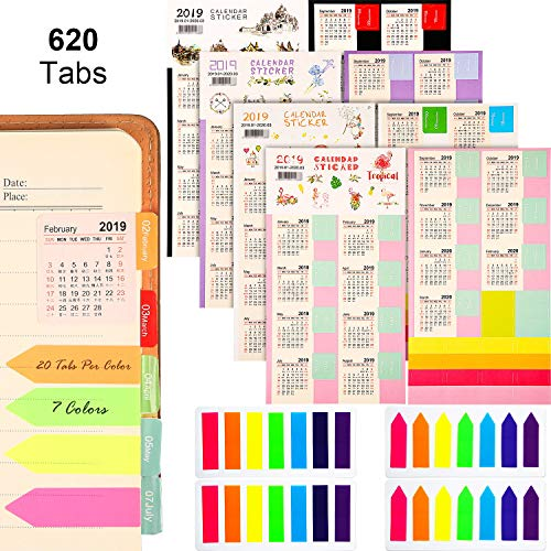 Zhanmai 2019-2020 Calendars Stickers Planners Monthly Adhesive Index Tabs (9/2019-3/2020) with 4 Sets Neon Page Markers Colored Index Tabs Sticky Note for Page Marker (620 Tabs)