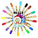 20 Pcs Liquid Chalk Markers Pack - 14 liquid chalk color - 4 liquid chalk white - 1 Gold - 1 Silver - Non Toxic - Liquid Chalk Pens