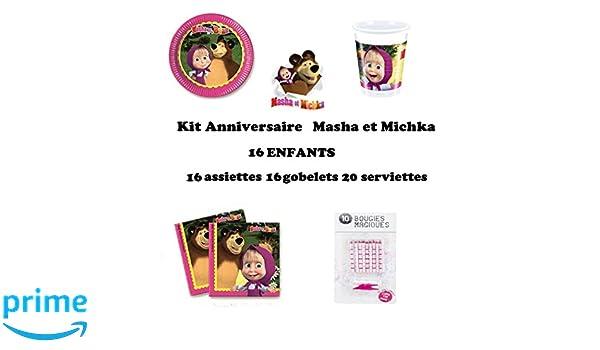 Uni que Set cumpleano Masha y el Oso Michka Decoración Cumpleaños 52 Piezas (16 Platos, 16 Tazas, 20 servilletas + 10 Velas Mágicas) Fiesta para 16 ...