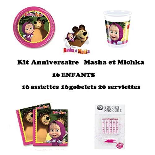 Kit anniversaire 52 pièces Masha et Michka ( 16 assiettes, 16 gobelets, 20 serviettes + 10 bougies magiques offertes) décoration fête 16 enfants