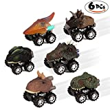 6 Pack Dinosaur Toys Mini Pull Back Vehicles with wheels Birthday Party Favors for Kids Boys Girls