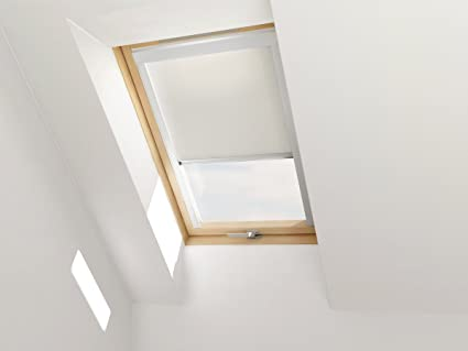 Store Occultant Blanc Pour Fenêtre De Toit Velux Keylite Et Starlite Taille Extérieure De La Fenêtre 134 X 140 Cm