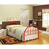 Metal Twin Bed, Multiple Colors, Home Furniture Children Room Kids Bedroom Headboard Footboard Functional Perfect Comfortable + Expert Guide ''Happiness, Health and Better Life'' (Red)