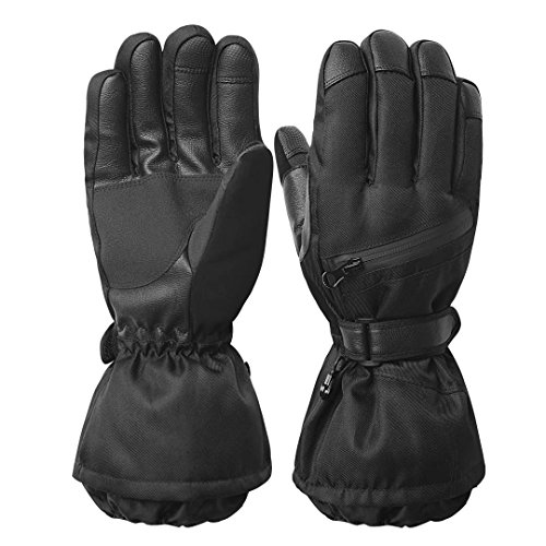Men's Waterproof Windproof Ski Gloves,Winter Warm 3M Thinsulate Snowboard Snowmobile Gloves Black L