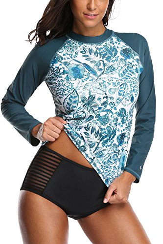 Sociala Women's UPF 50+ Long Sleeve Rash Guard Swimwear Athletic Top UV Rashgurd Green/S