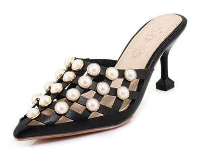 Easemax Damen Schick Spitze Zehe Lochung Perlen Geschlossen Pantoffeln Mules