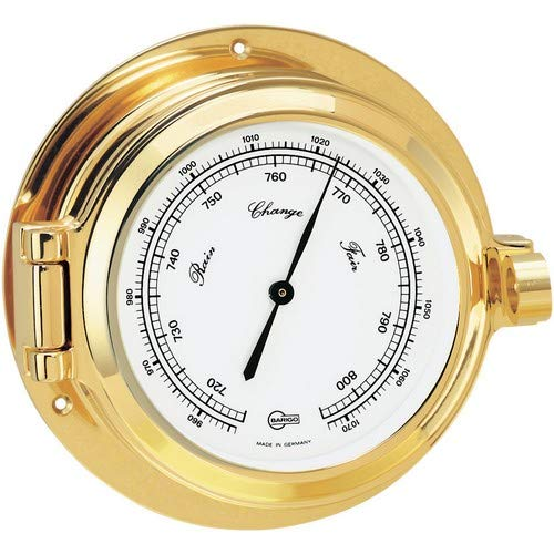 Barigo Poseidon Series Porthole Ship'S Barometer - Brass Housing - 3.3