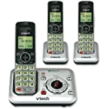 VTech CS6429-3 3-Handset DECT 6.0 Cordless Phone with Answering System and Caller ID, Expandable up to 5 Handsets, Wall-Mountable, Silver/Black