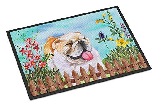 Caroline's Treasures CK1201MAT English Bulldog Spring Indoor or Outdoor Mat 18x27, 18H X 27W, Multicolor