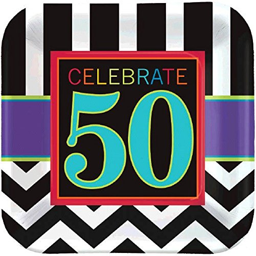 Must-Have Chevron and Stripes 50th Birthday Party Square Dessert Plates Tableware, Pack of 8, Multi , 7