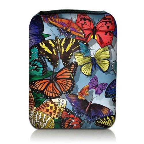 Luxburg® Design Tasche Hülle Sleeve Etui für eBook Reader und Tablet PC bis 7 Zoll, Motiv: Bunte Schmetterlinge