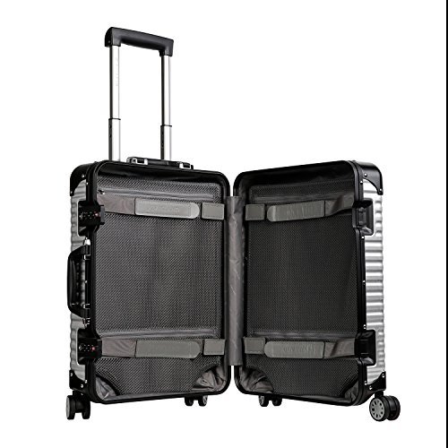 LANZZO Aluminum Magnesium Alloy Luggage with Spinner Wheels TSA Lock Approved Hardshell Travel Suitcase, 20inches, Silver by LANZZO (Image #2)