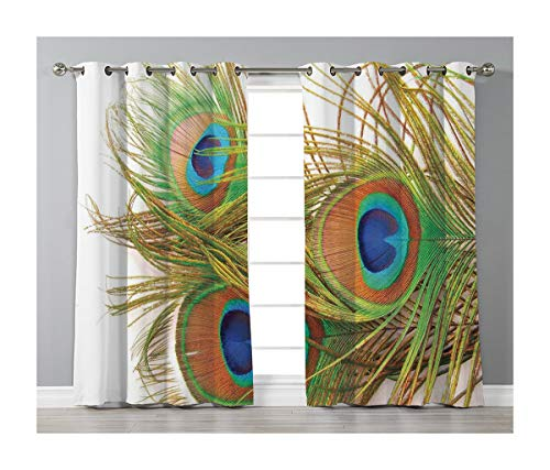 Goods247 Blackout Curtains,Grommets Panels Printed Curtains for Living Room (Set of 2 Panels,55 by 84 Inch Length),Peacock Decor