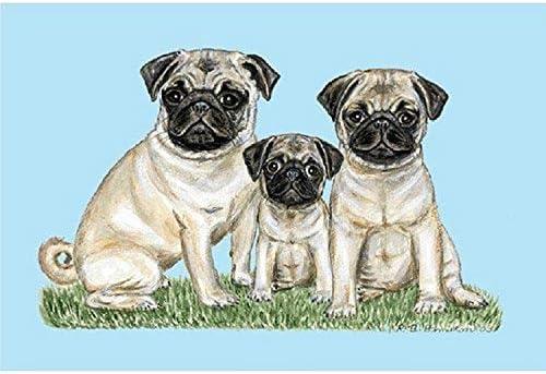 Betsy Drake DM077 Pets Pugs Door Mat, 18 x 26