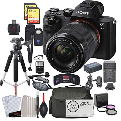 Sony Alpha a7IIK Mirrorless Digital Camera with 28-70mm Lens with Deluxe Striker Bundle: Includes – Memory Cards, Large Tripod, Camera Bag, FilterSet, Extra Battery, Cleaning Kit, and More