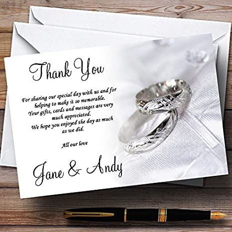 Classy White and Silver Rings Personalized Wedding Thank You Cards