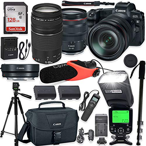 Canon EOS R Mirrorless Digital Camera with RF 24-105mm f/4L is USM Lens & Mount Adapter EF-EOS R Kit + Canon EF 75-300mm III Lens + TTL Speedlight Flash + Comica Pro Mic + 60