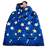 SFE Winter Lazy Quilts with Sleeves Warm Thick Comforter Sets Lazy Quilted Washable Soft Hypoallergenic