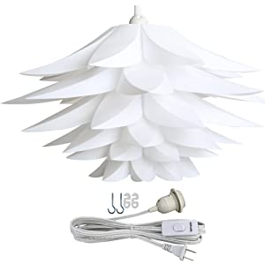 Lightingsky Ceiling Pendant DIY IQ Jigsaw Puzzle Lotus Flower Lamp Shade Kit with 15 Feet Hanging Cord (White)