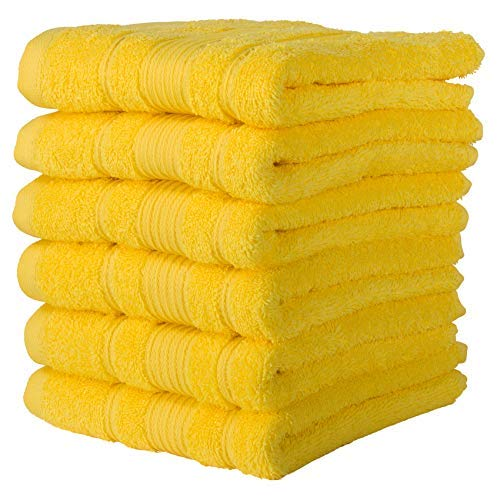 Qute Home Towels 100% Turkish Cotton Yellow Hand Towels Set | Super Soft Highly Absorbent Towels | Spa & Hotel Towels Quality Quick Dry Towel Sets for Bathroom, Shower Towel – (Hand Towel - Set of 6