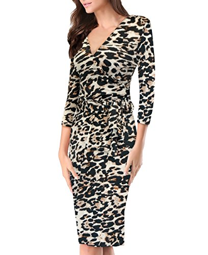Women Cross Over Dress KDR47102 10590 Cheetah Printed - Printed Crossover