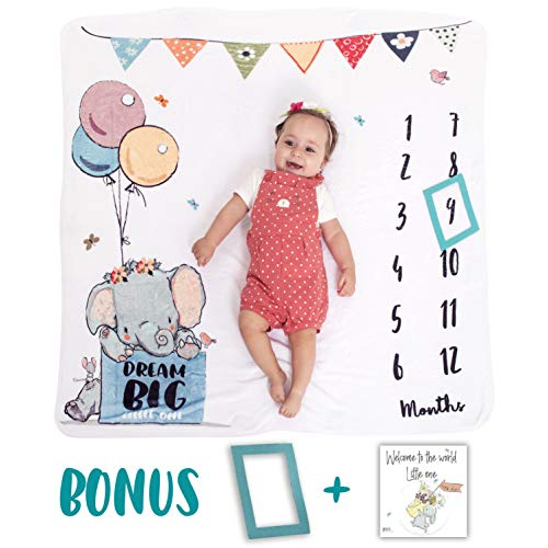 Baby Monthly Milestone Blanket | Premium Soft Plush Fleece (300GSM) | Photo Prop for Newborn Boy & Girl | Unique Animal Design |47'' x 47''| Unique Baby Gifts | New Moms | Baby Shower Gift by Heli's Little Friends